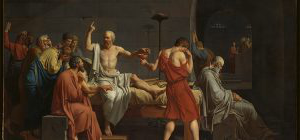 18th-century painting of Socrates pontificating on his death bed